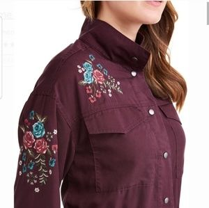 NWT Embroidered Utility Cargo JACKET PURPLE TIE